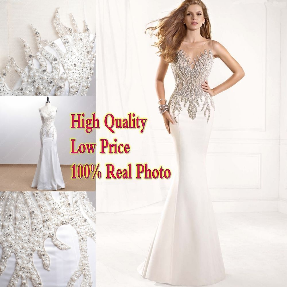 Real photo mermaid pearls prom dress pageant party formal wedding