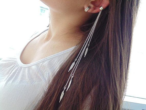 Ear Cuff Chain Earring Extra Long Feather And By Ditania