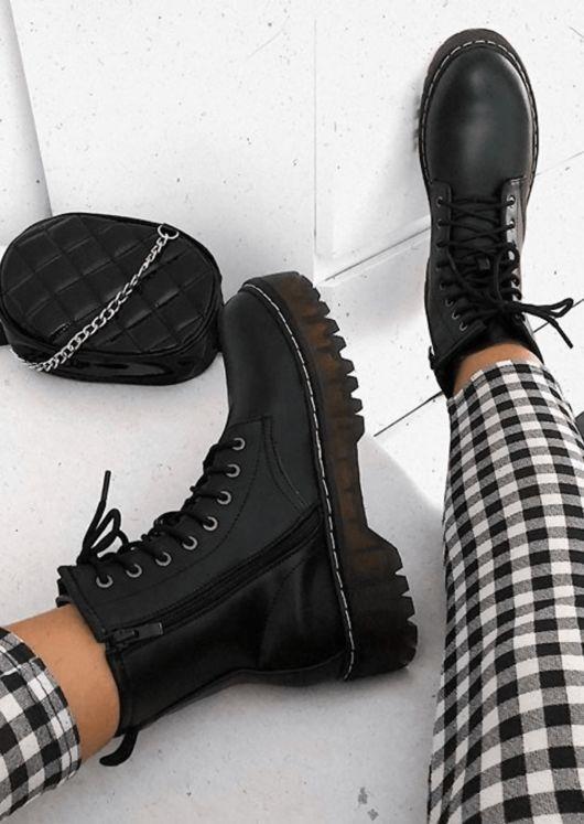 Platform Faux Leather Combat Ankle Boots Black 13