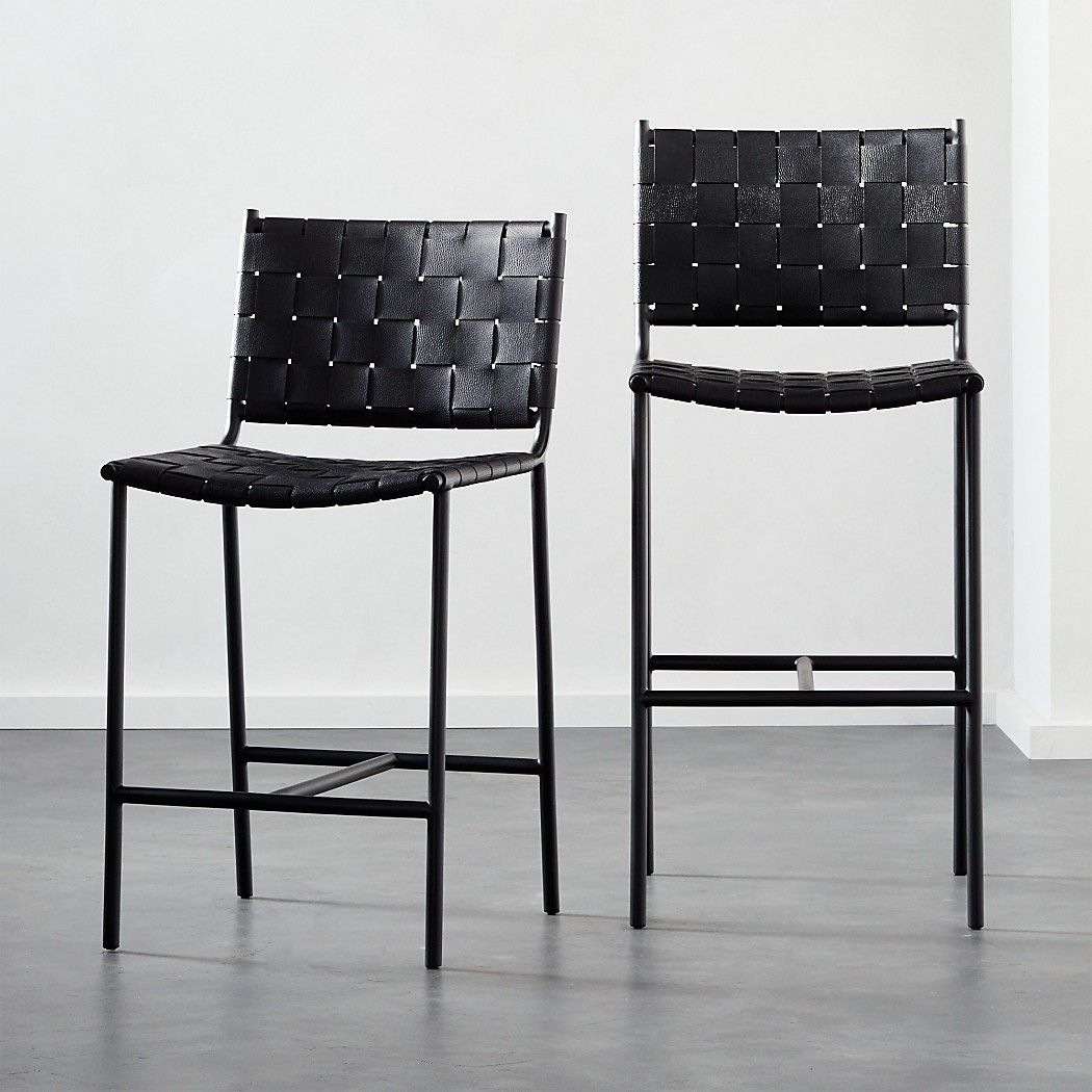 Woven Black Leather Counter Stool Reviews Cb2 Leather Counter Stools Modern Bar Stools Leather Bar Stools Black leather bar stool