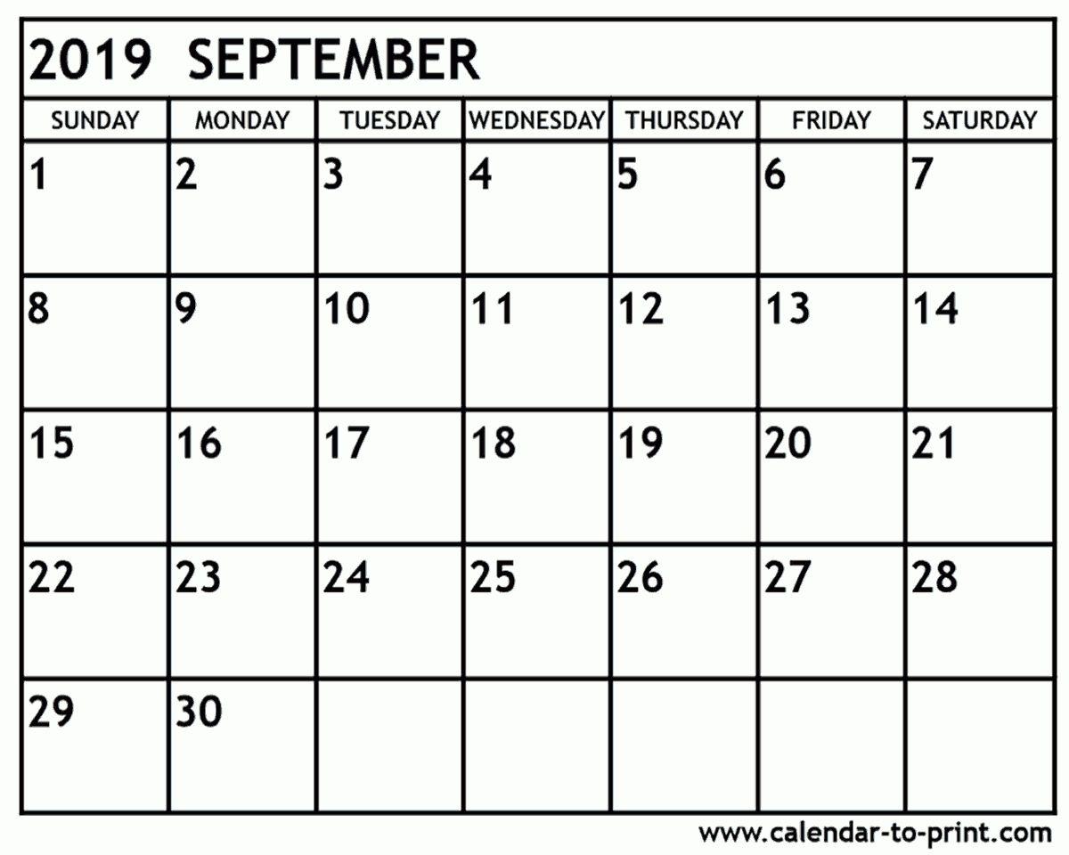 September 2019 Calendar Printable Catch Printable