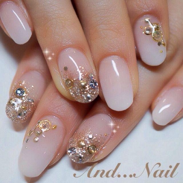 結婚式の釘, 結婚式のメイク, かわいい爪, ネイルのアイデア, マニキュアのアイデア, Nailart, ネイルデザイン, 髪, ファッション