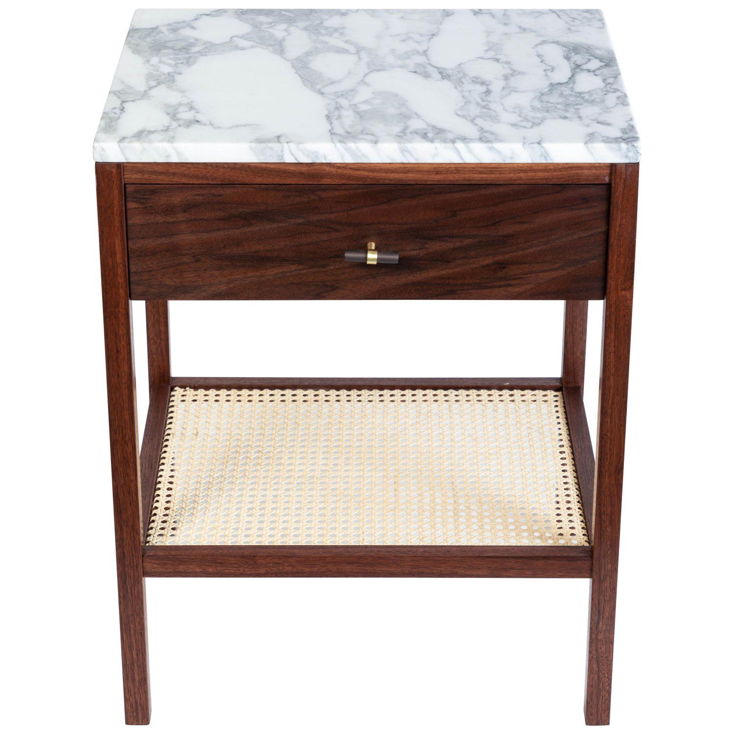 Custom Made Walnut Night Stand with a Marble Top and Caned