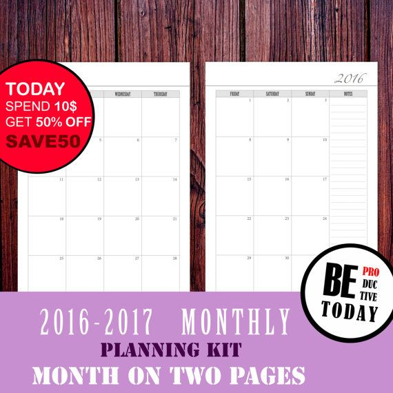 Monthly Planner 2017 Month On Two Pages Printable Monthly Calendar