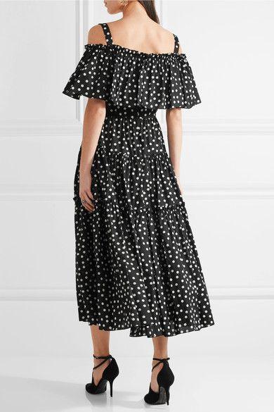 Dolce & Gabbana - Off-the-shoulder polka-dot cotton-blend dress