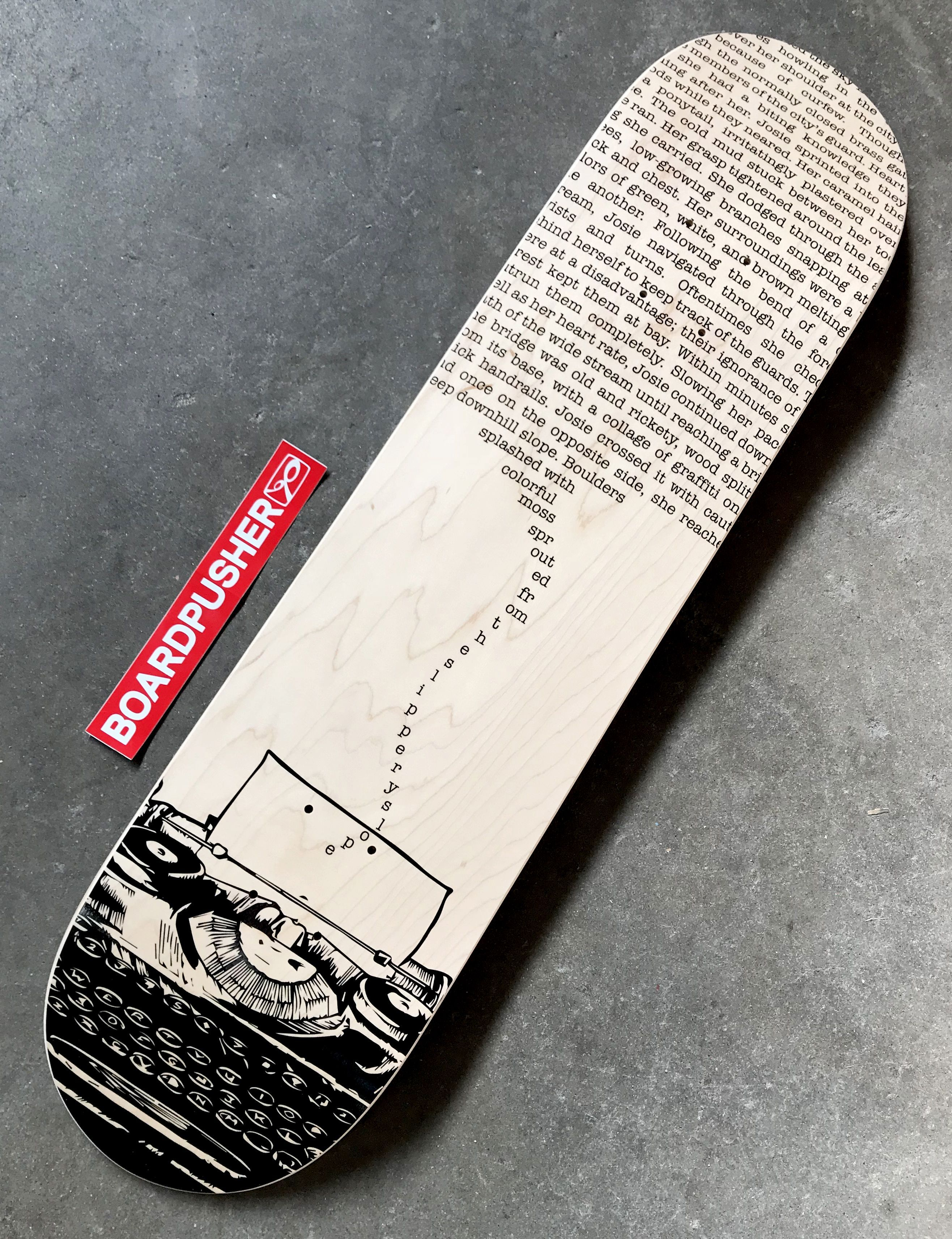 Typewriter Custom Skateboard Graphic Created By Audrey Schied Today S Featured Deck Design Your Own Skateboard At Boa Planches De Skateboard Skateboard Skate