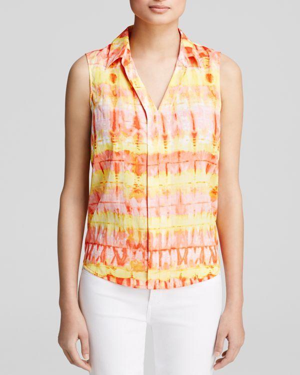 080b2eae6bdc74 Calvin Klein Tie Dye Print Ruffle Blouse