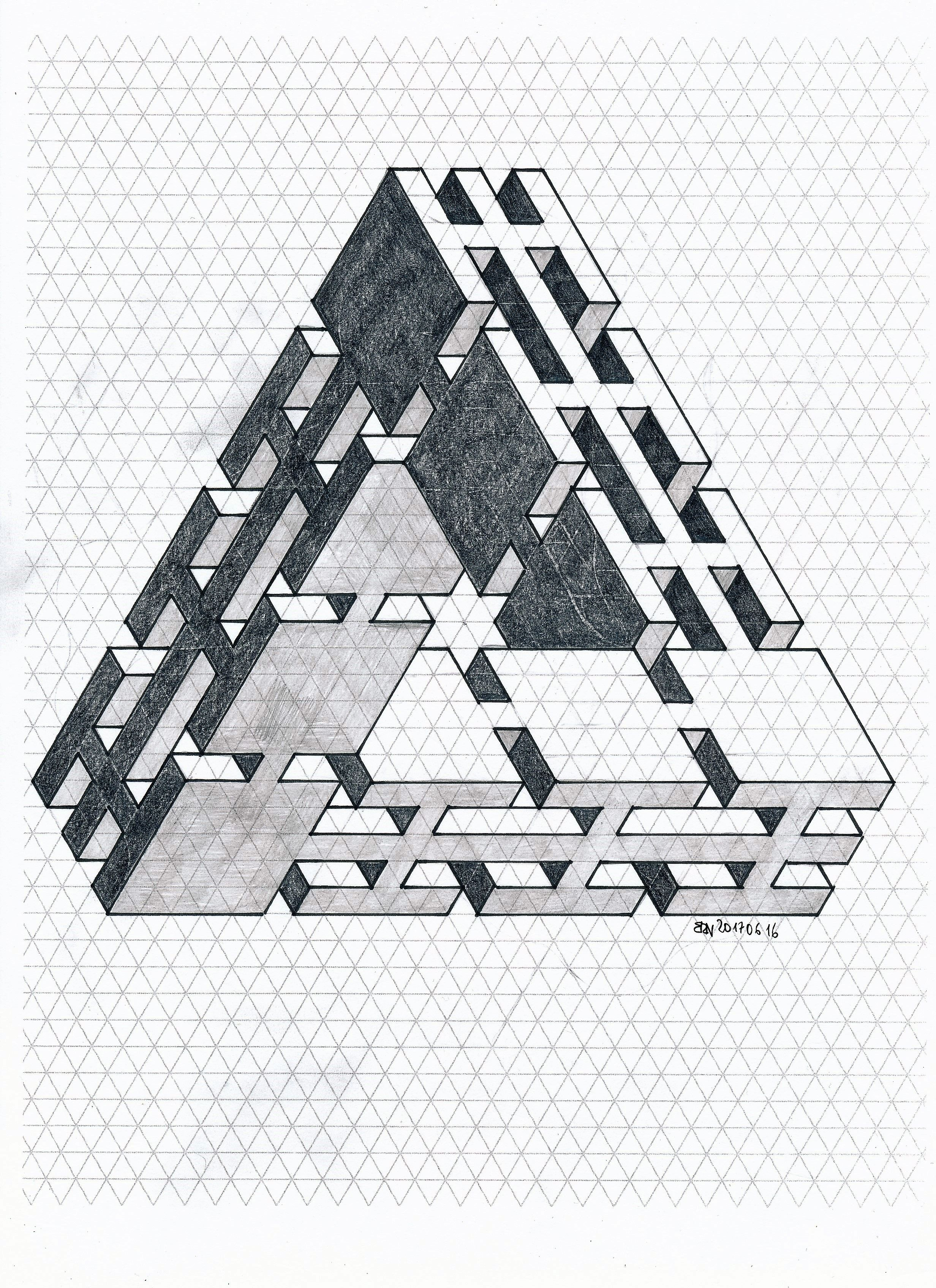Impossible Isometric Penrose Triangle Geometry