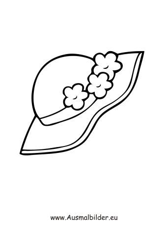 Ausmalbild Hut mit Blumen | Ausmalbilder Gegenstände | Pinterest ...