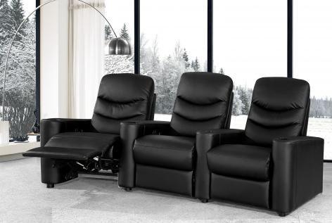Bond 3 Seater Cinema Room Triple Recliner Leather Fabric Sofas Sofa Bed Corner