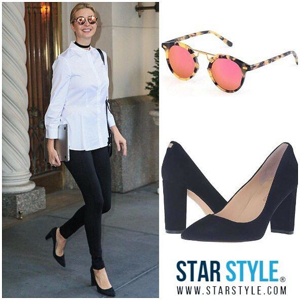 Ivanka wearing Krewe sunglasses and Ivanka Trump shoes this morning  http://liketk.