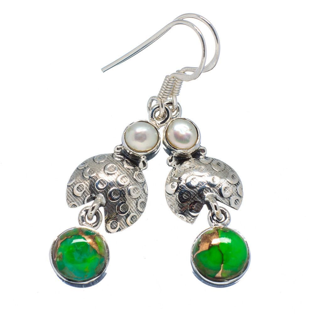 """Green Copper Composite Turquoise, Cultured Pearl 925 Sterling Silver Earrings 1 7/8"""" EARR327354"""
