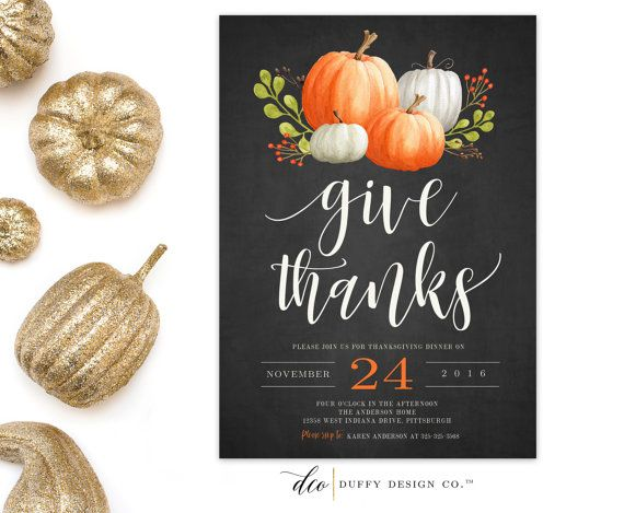 Thanksgiving Dinner Invitation Thanksgiving Invitation