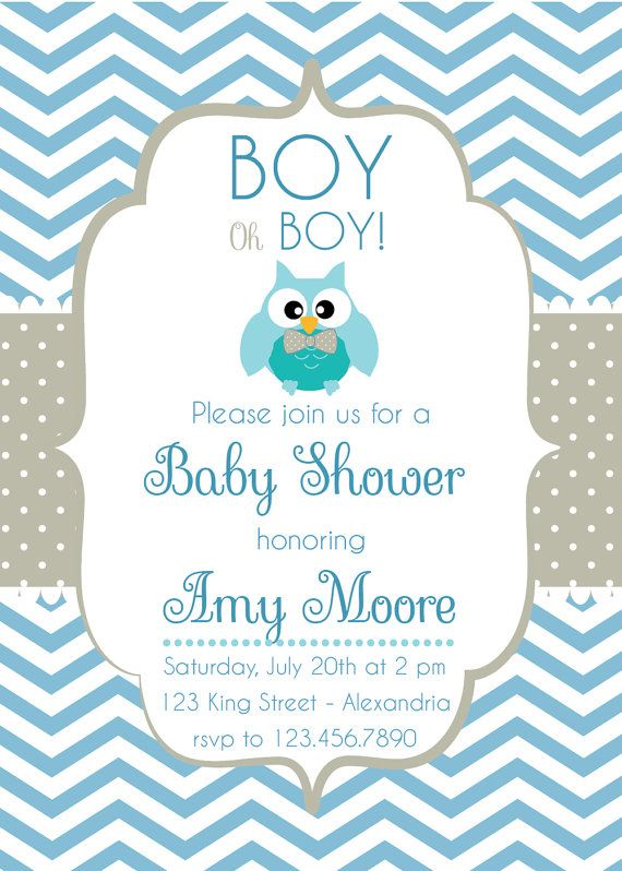 Great Baby Shower Invitation. Baby Boy. Chevron Style With Cute Owl. Printable