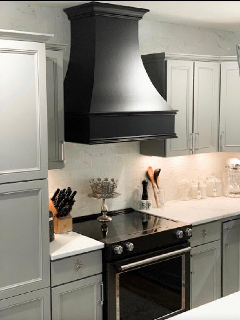 Matte Black Epicurean Artisan Style Kitchen Hood Liner Etsy Kitchen Hoods Black Appliances Kitchen Kitchen Styling