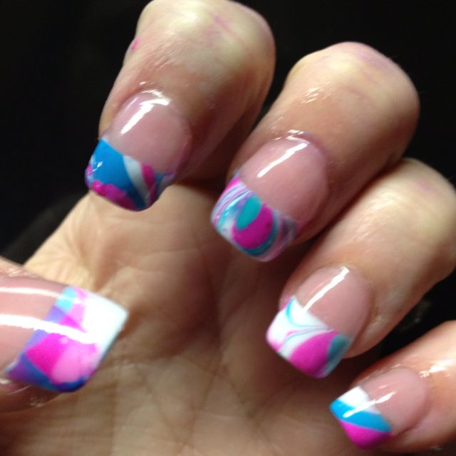 My nail art water marbled tips