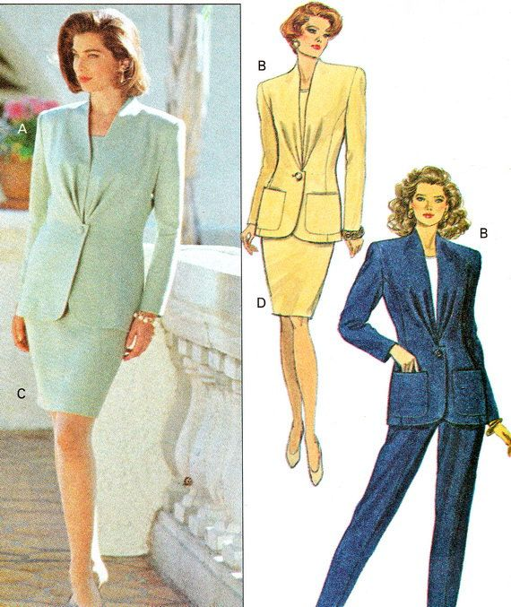 1990s Womens Suit Pattern Butterick 5645 Power Suit By Paneenjerez