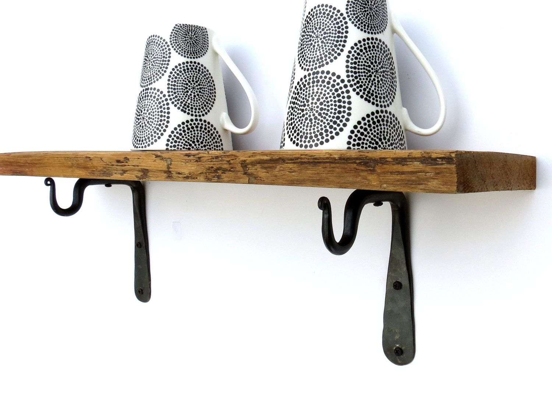 2 Mini Shelf Brackets Wrought Iron Hook Kitchen Utensil Mug E S Rod Pole