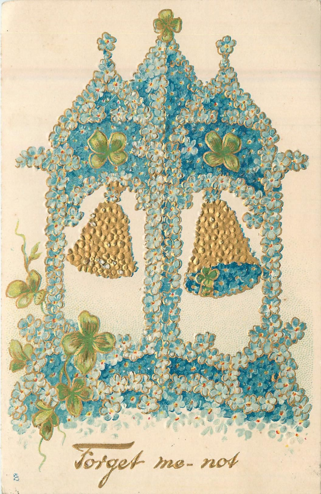Full Sized Image: FORGET ME-NOT two bells under bell-tower of forget-me-nots - TuckDB
