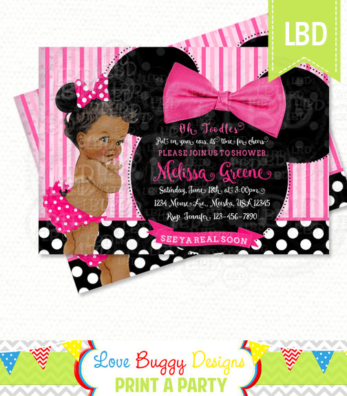 minnie mouse baby shower invitation baby girl minnie style v7 you