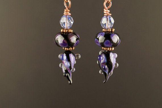 Glass earrings boho gypsy earrings lampwork earrings by driftnbleu