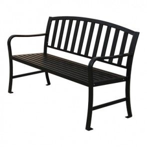4u0027 Black Metal Bench With Arms