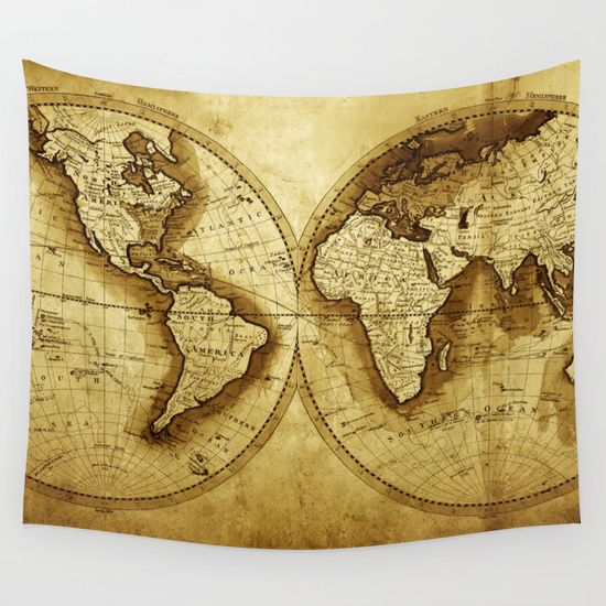 Antique Map Of The World Wall Tapestry By Map Shop Art - Old map shop