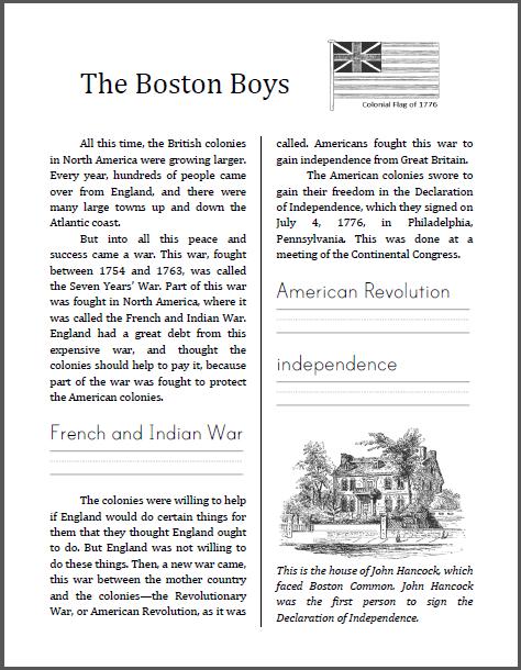 Free The Boston Boys Free Printable Pdf Workbook On The American