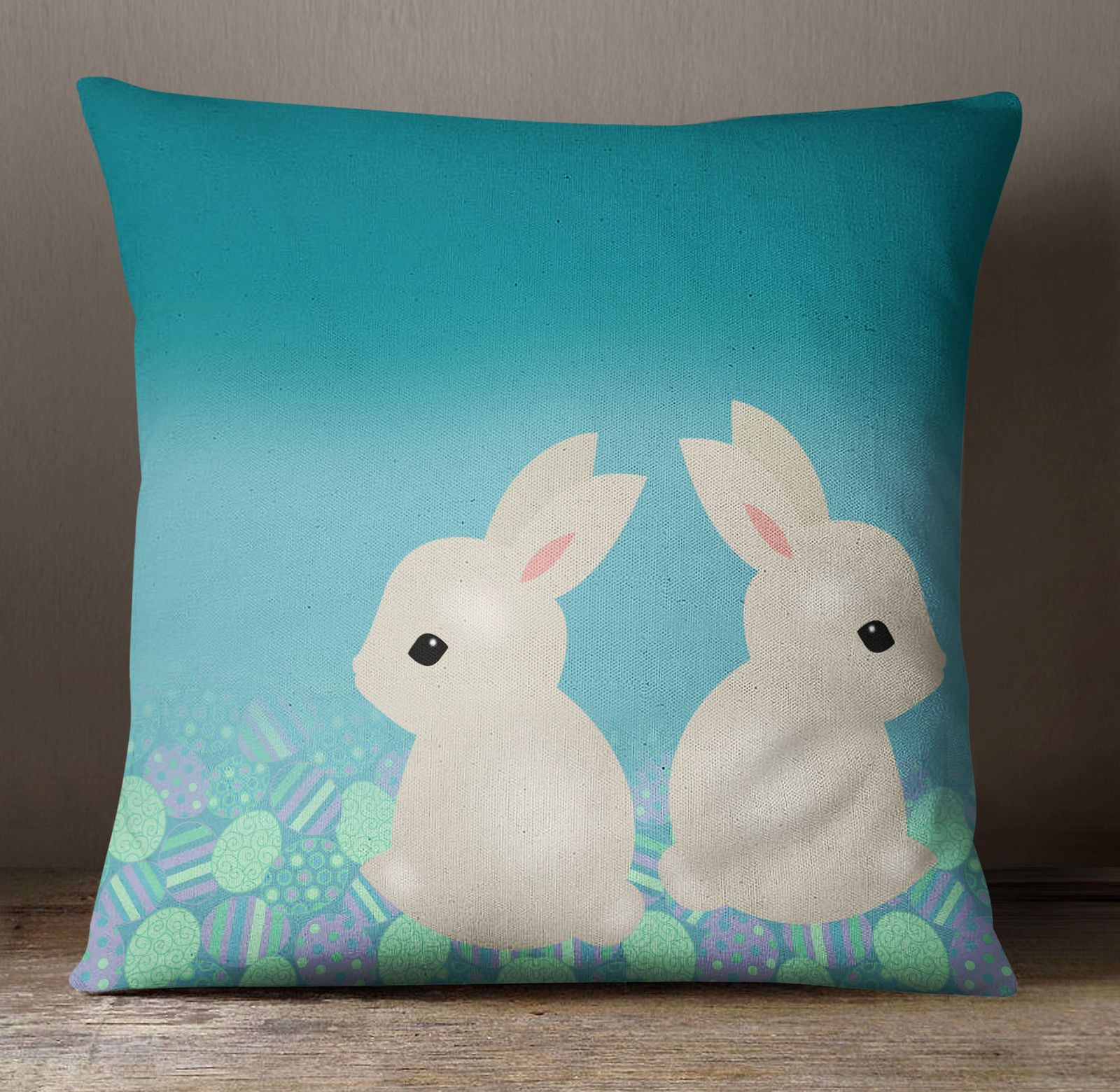 S4Sassy Easter Bunny Print Decorative Cushion Case Square Pillow Cover