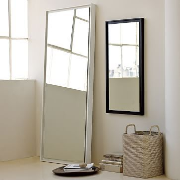 Floating Wood Floor Mirror White Lacquer Floor Mirror Wood