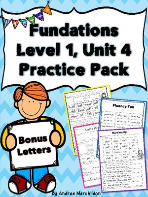 Fundations Unit 4 Bonus Letters Practice Pack From Tricks Of