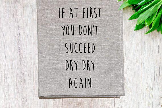 Dry Dry Again Linen Tea Towel Oatmeal