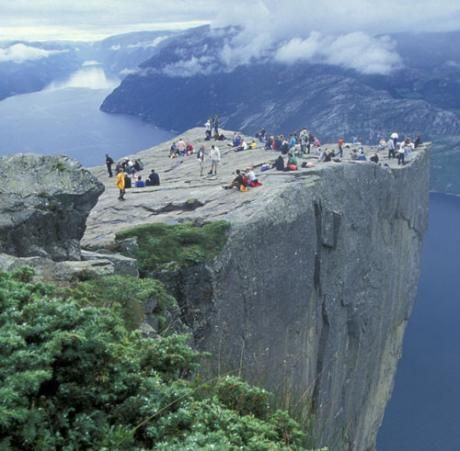 Stavanger, Norway  I like this photo.  I wonder how far they had to hike to get here.  Beautiful.  Any one for a dive?