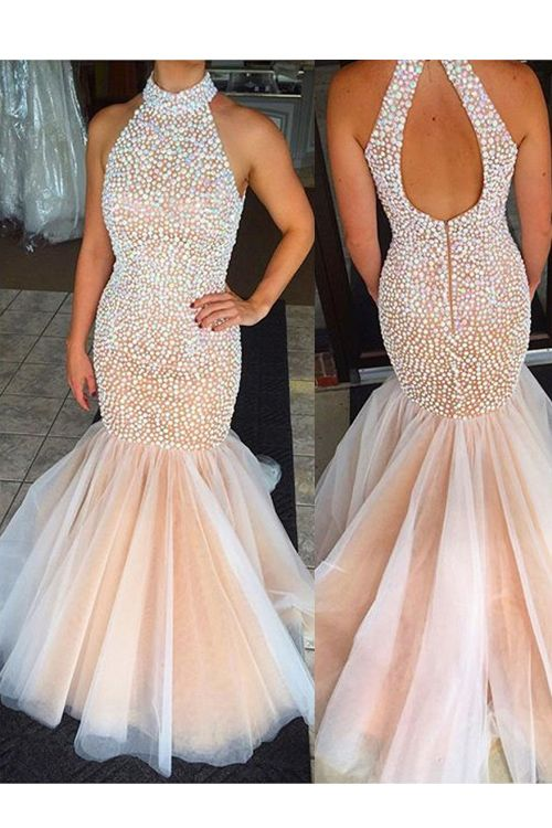 Sexy Mermaid Halter Beading Backless Long Organza Champagne Prom Dress f15843b910d9