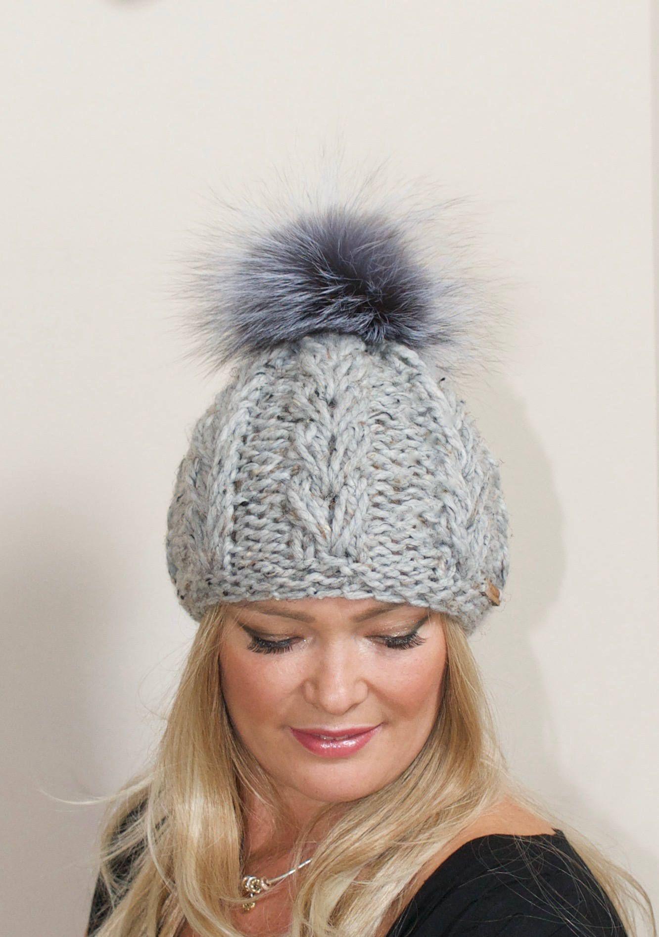 98e7be4452d Bobble Beanie Fur Pom Pom Hat Fur Pompom Beanie SALE Ski Hat Women CHOOSE  COLOR Cabled Hat Fox Fur Pom Pom Christmas Gift under 100 by lucymir on Etsy