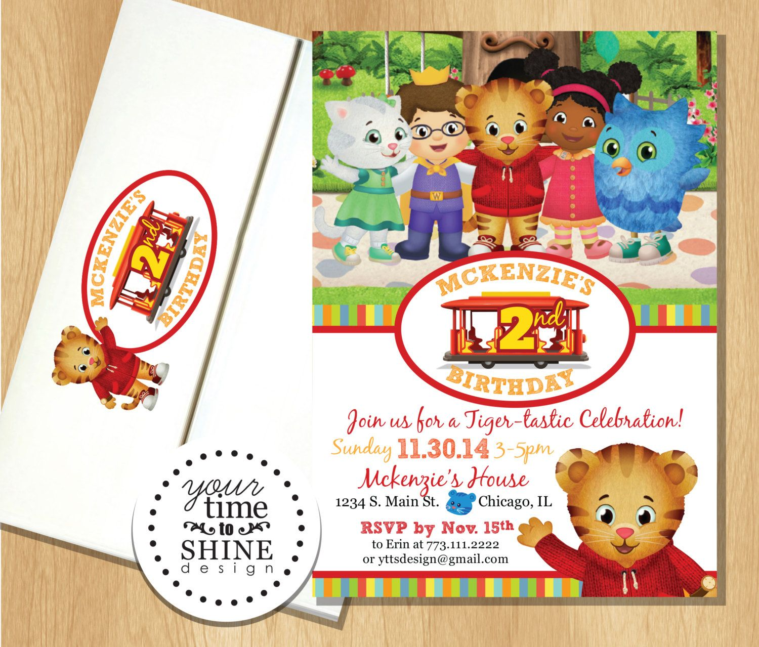 Daniel Tiger and Friends Invitations with Custom Printed Envelopes ...