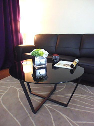 Glass Coffee Table Black Top Black Base 33 Diameter Stylish