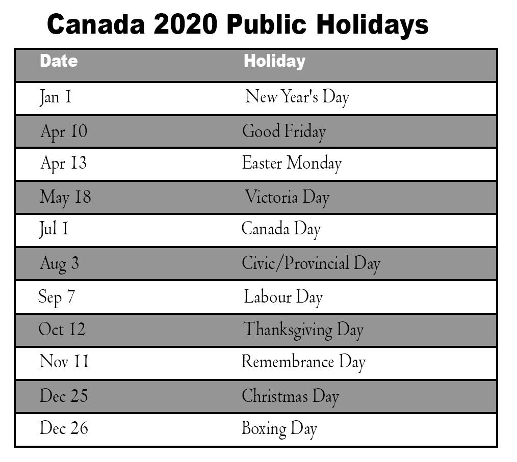 Canada 2020 Public Holidays Calendar School Holiday Calendar Holiday Calendar Printable Holiday Calendar
