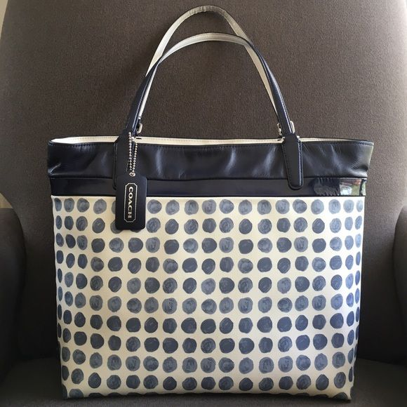 Coach Canvas/Patent Leather Tote No.M1320-29432 Coach Navy Polka Dot Coated