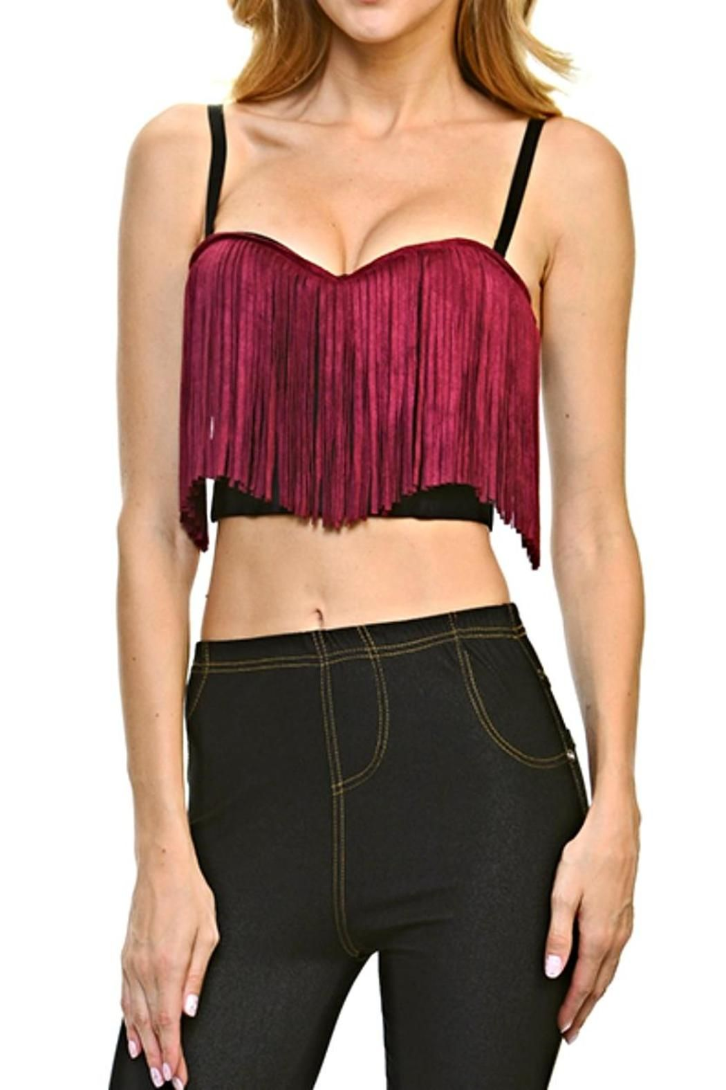 8bf5cb37868e Add edge to your wardrobe with this black crop top bustier with burgundy  faux suede fringe accent. Features adjustable/removable straps, ...