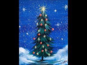 Einfacher Weihnachtsbaum Schritt für Schritt Acrylmalerei auf Leinwand für Anfänger