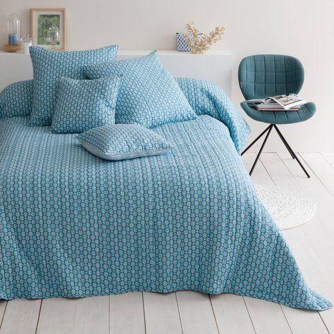 plaid ou couvre lit boutis coton indila bleu harmony couvre lit boutis couvre lit et couvre. Black Bedroom Furniture Sets. Home Design Ideas