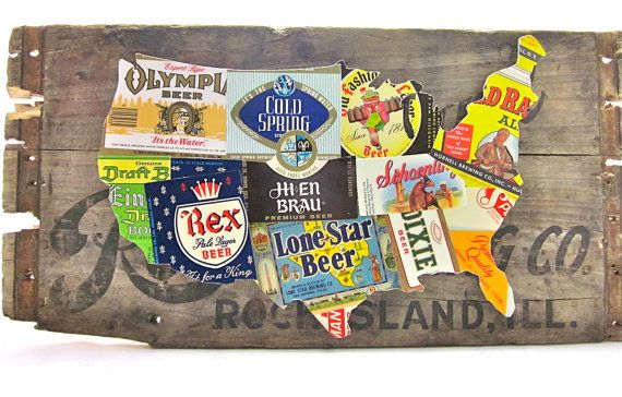 United States Map Collage made from vintage upcycled US beer ... on beer brand map, beer bottle map, beer chart map,