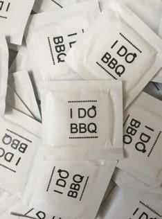I Do BBQ Diamond BLACK Ink Imprint Individual Wet Wipe Packets - Black Ink - Pack of 100 Moist Towelettes #weddingreception