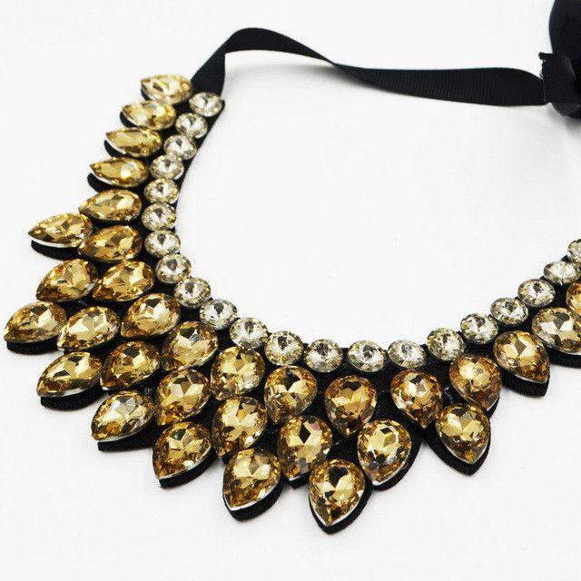 Water Drop Crystal Collar Necklaces