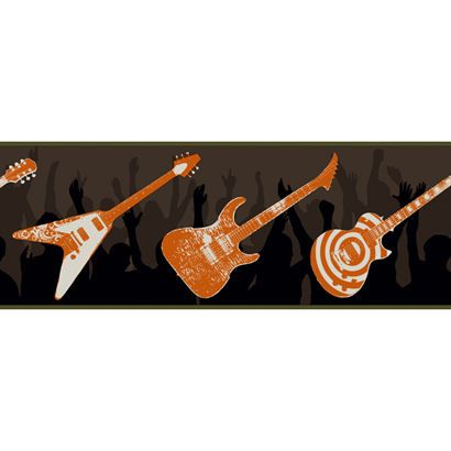 Black and Orange Guitar Wallpaper Border Wall Sticker