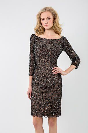 Black evening dress 3 4 sleeves hem