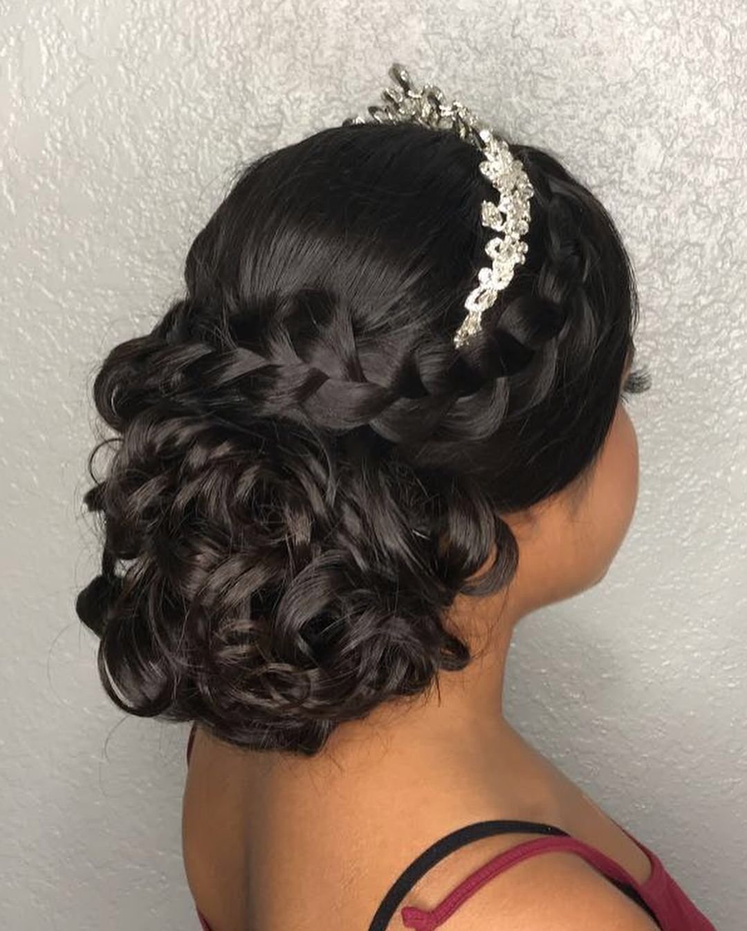 Quince Updo Love Adding A Braid To Any Hairstyle Quince Quinceanera Updo Elegant Glam Hairstyles Quince Hairstyles Long Hair Updo Sweet 15 Hairstyles