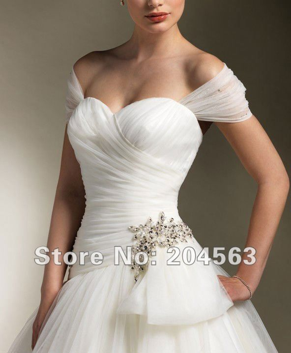 Free Shipping Asymmetrical Pleated Tulle Wedding Dress With Cap Sleeves 2012 Custom Size Color