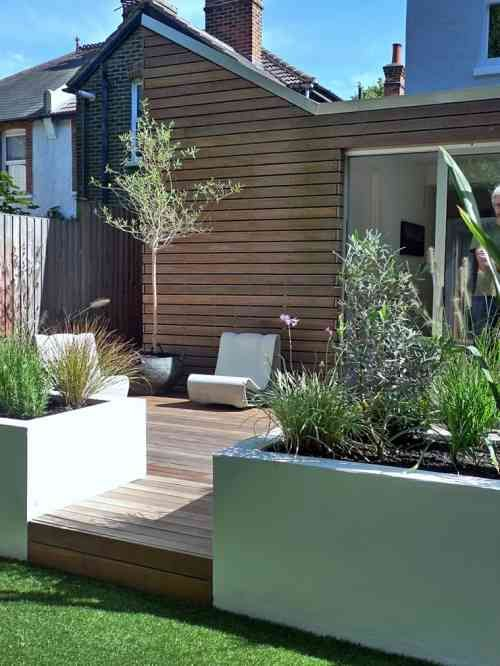 jardin moderne avec terrasse en bois garden ideas